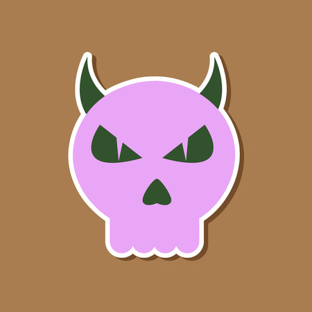 paper sticker on stylish background halloween emotion skull