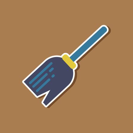 empleadas domesticas: paper sticker on stylish background halloween Witchs broom