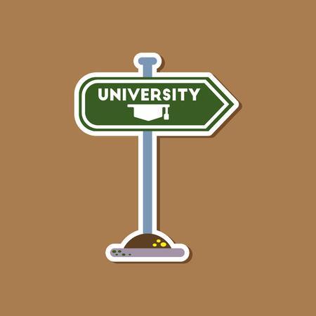 application university: paper sticker on stylish background University sign Illustration
