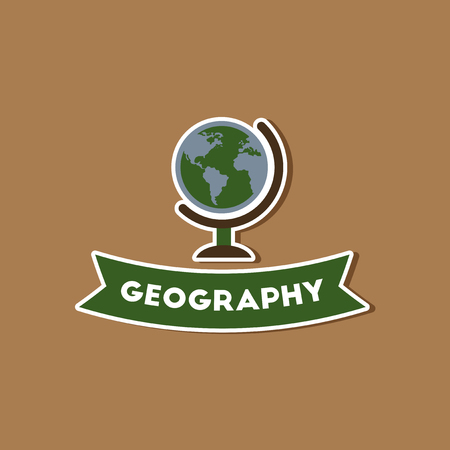 geography: paper sticker on stylish background geography lesson