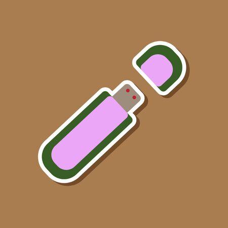 gigabyte: paper sticker on stylish background flash drive
