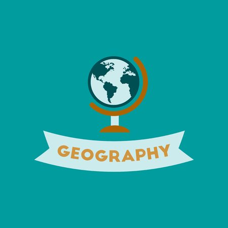 geography: flat icon on background geography lesson
