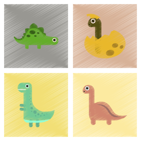 tyrannosaur: assembly flat shading style icons cartoon dinosaur