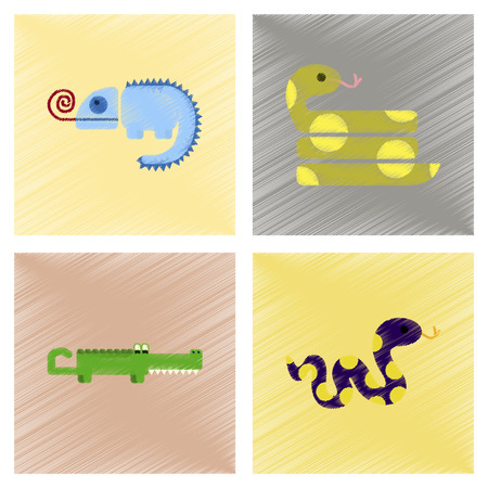 reptiles: assembly flat shading style icons of exotic wild reptiles