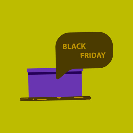 thinking cloud: Flat icon of gift box Black Friday surprise thinking cloud