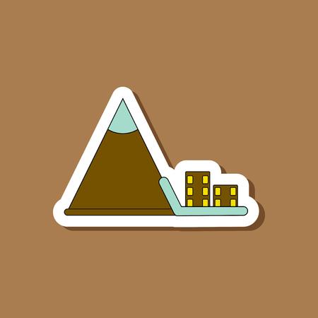 paper sticker on stylish background snow avalanche house