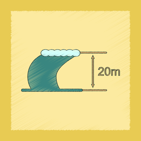 sea disaster: flat shading style icon wave height Illustration