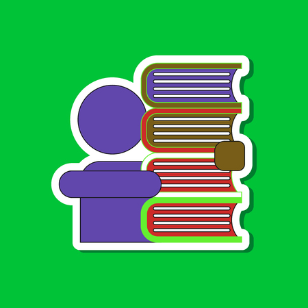 schoolboy: paper sticker on stylish background schoolboy books