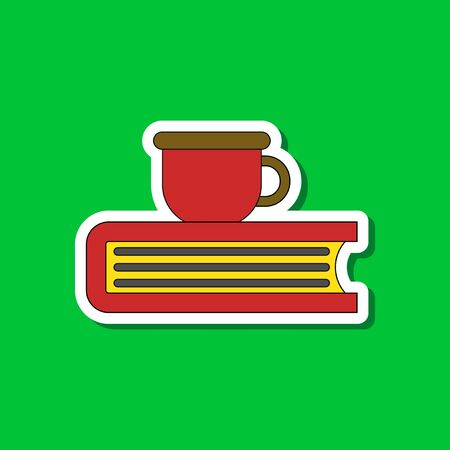 paper sticker on stylish background book cup Illustration
