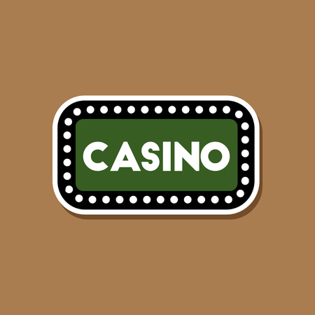 paper sticker on stylish background casino sign