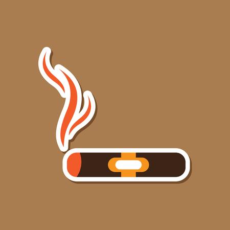 paper sticker on stylish background cuba cigar Illustration