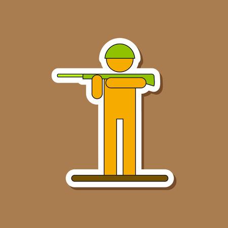 plastic soldier: paper sticker on stylish background Kids military soldier Illustration