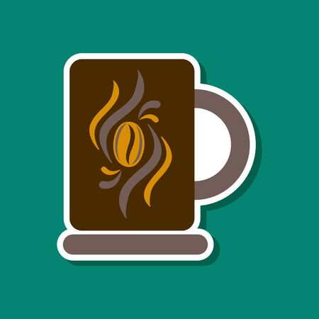 paper sticker on stylish background coffee cup flavor
