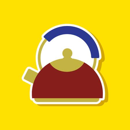 steam iron: paper sticker on stylish background kettle