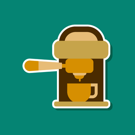 paper sticker on stylish background coffee electronic machine Illustration