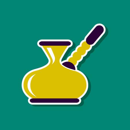 turk: paper sticker on stylish background coffee turk