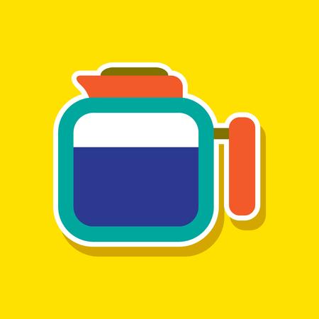 paper sticker on stylish background of coffee dishware kettle Illustration