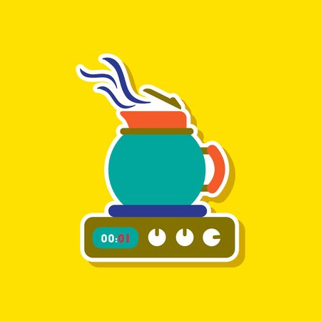 paper sticker on stylish background coffee kettle stove Illustration
