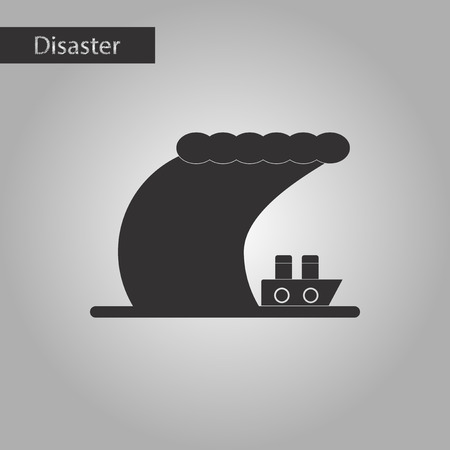 sea disaster: black and white style icon ship storm Illustration