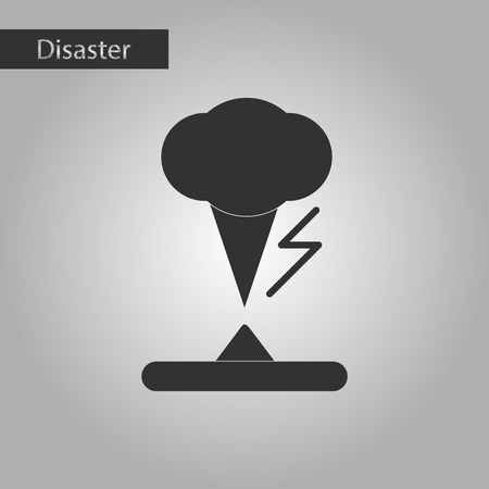 sea disaster: black and white style icon of disaster tornado