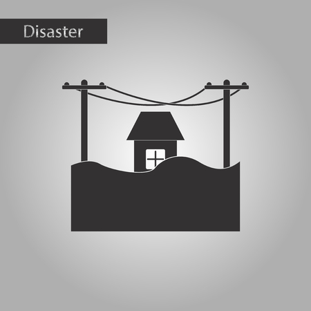 sea disaster: black and white style icon of flood house