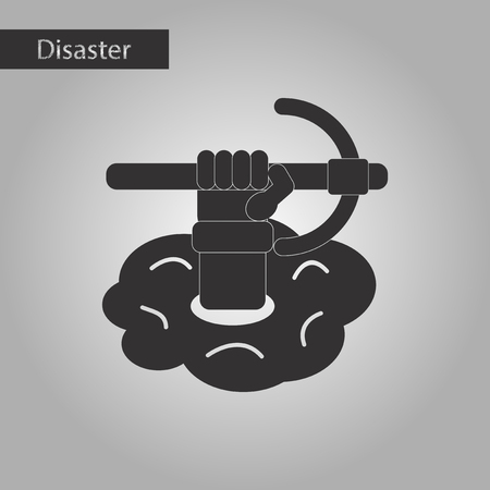 black and white style icon hammer in hand avalanche Illustration
