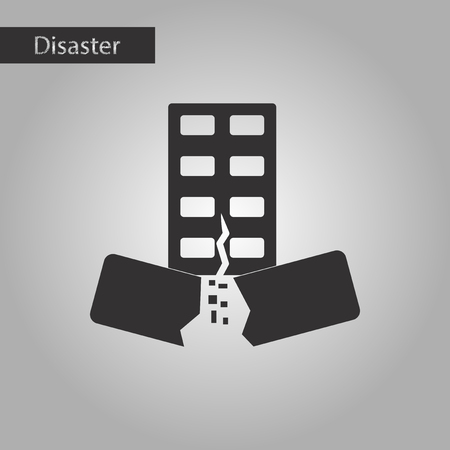 earthquake crack: black and white style icon natural disaster earthquake house Illustration