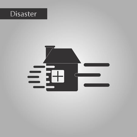sea disaster: black and white style icon wind destroys house