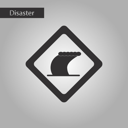 sea disaster: black and white style icon tsunami sign