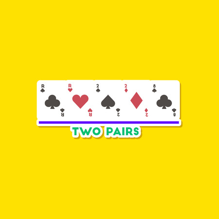 knave: paper sticker on stylish background poker two pairs Illustration