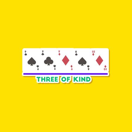 paper sticker on stylish background poker three of a kind