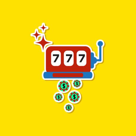 spiel: paper sticker on stylish background slot machine winnings