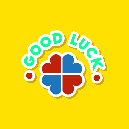 paper sticker on stylish background good luck