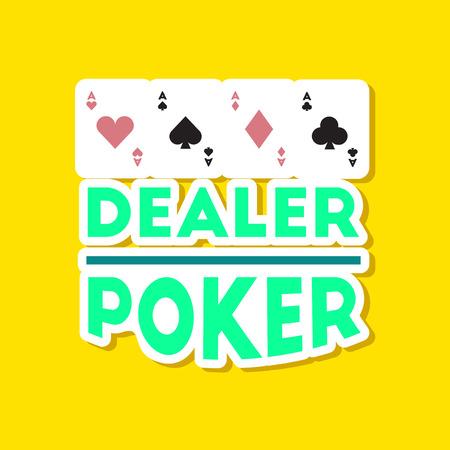 paper sticker on stylish background poker casino dealer