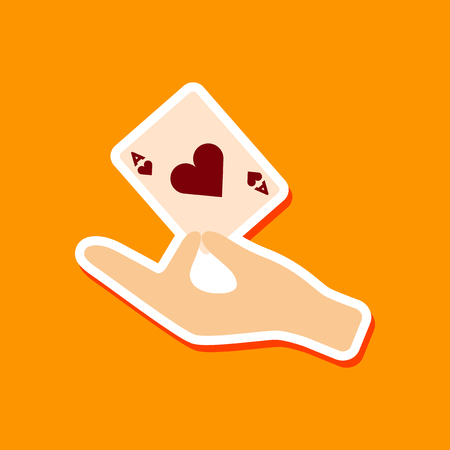 hand holding playing card: paper sticker on stylish background hand playing cards Illustration