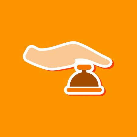 paper sticker on stylish background hand bell