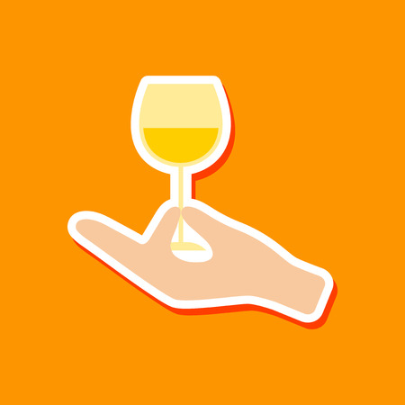 wineglass: paper sticker on stylish background glass of wine