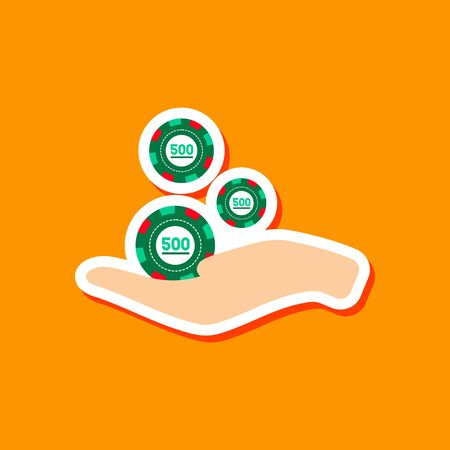 paper sticker on stylish background Casino chips in hand Illustration