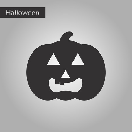 black and white style icon halloween pumpkin Stock Photo