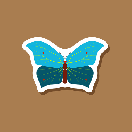butterfly paper sticker on stylish background