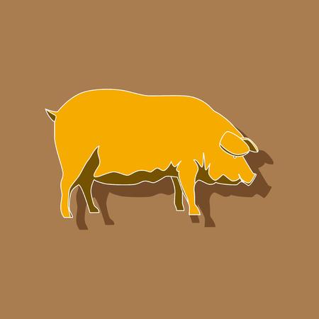 paper sticker on stylish background pig Illustration