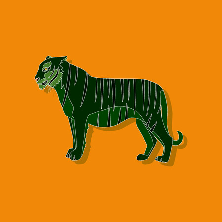 bengal: tiger paper sticker on stylish background Illustration