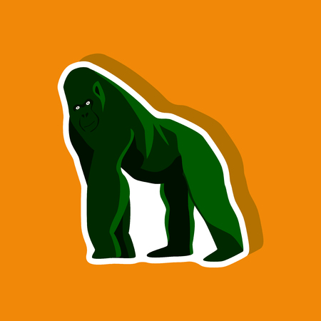 gorilla paper sticker on stylish background Illustration