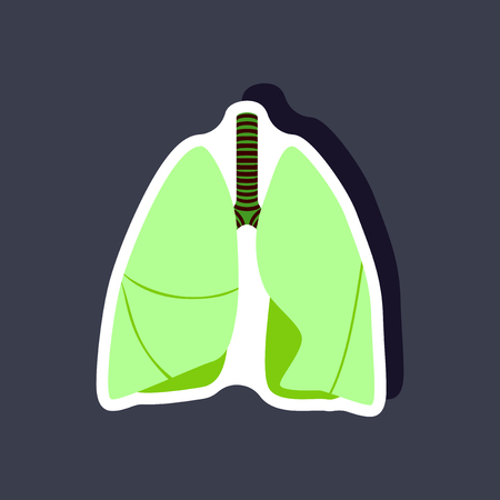 lungs and trachea paper sticker on stylish background Illustration