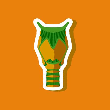 endocrinology: larynx paper sticker on stylish background Illustration