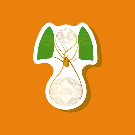 paper sticker on stylish background circulatory system Illustration
