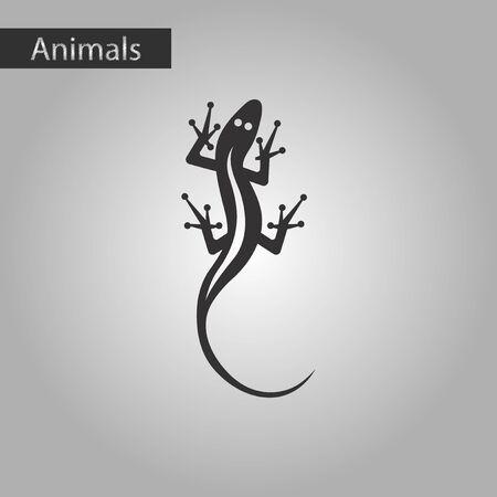 small reptiles: black and white style icon lizard reptile