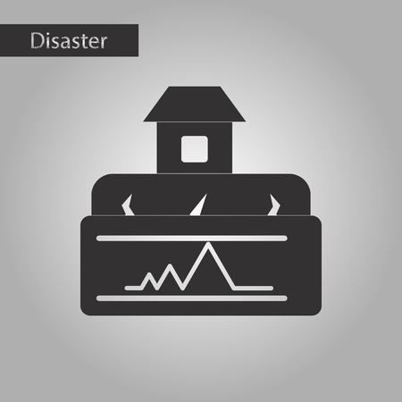 earthquake crack: black and white style icon natural disaster earthquake house Stock Photo