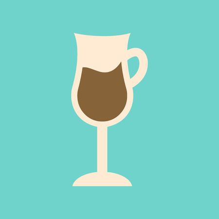flat icon on background coffee glass cup