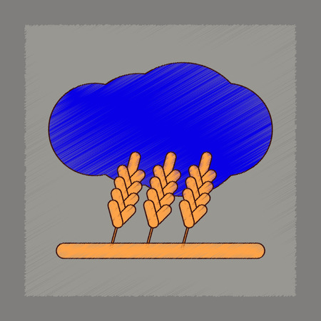 flat shading style icon wheat cloud Illustration